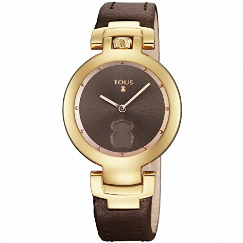Reloj Tous Crown de acero IP rosado con correa de piel marrón 700350270