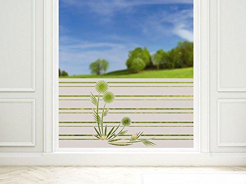 GRAZDesign Sichtschutzfolie Blumen mit Streifen Fensterfolie Milchglas selbstklebend für Bad Dusche Badfenster Blickdicht - Klebefolie Fenster Sichtschutz / 80x57cm