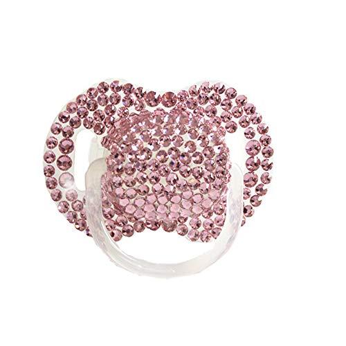 Dollbling benutzerdefinierte einzigartige Sparkle Strass/weiße Perlen Kristalle Baby Schnuller, 1PC (Rosa)