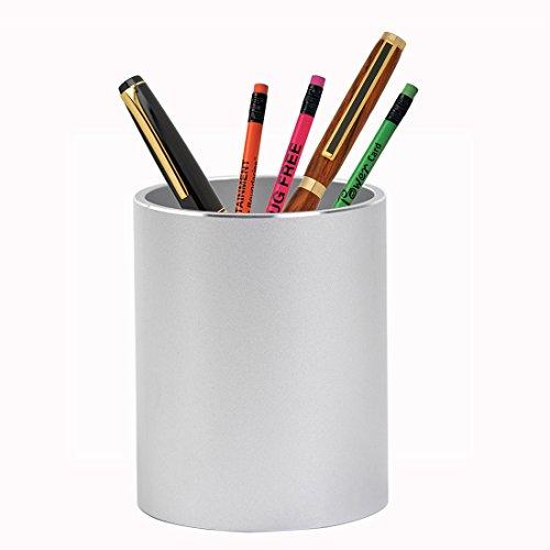 Lanker Aluminium Stylo Crayon Support–Forme Ronde Papeterie Fournitures Organiseur–MP3/MP4Argent/Noir