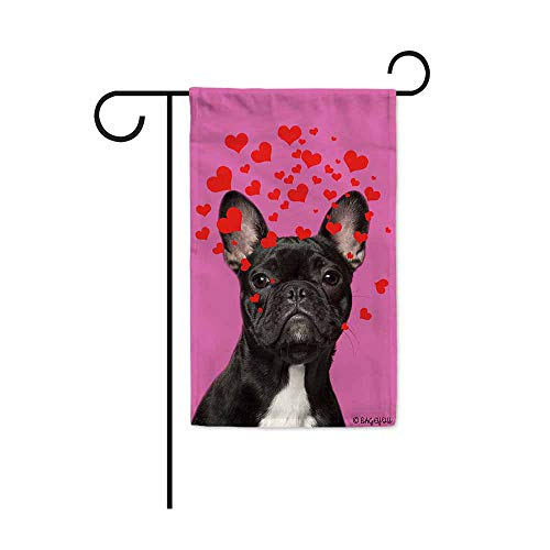 BAGEYOU Dog's Love to You Garden Flag French Bulldog Puppy Blowing Kisses Love Hearts Decor Home Banner for Outside 12.5X18 Inch Pink Print Both Sides