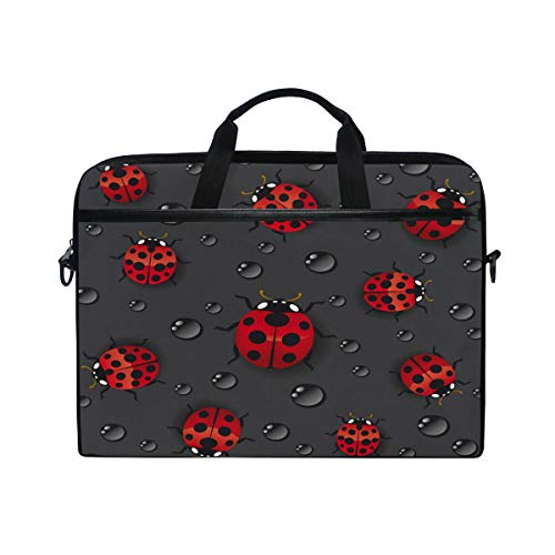 HAIIO Laptop Bag Case Water Drop Ladybug Animal Print Computer Protector Bag 14-14.5 inch Travel Briefcase with Shoulder Strap for Women Men Girl Boys
