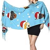 Bufanda de cachemira con flecos 27 'x77' Bufanda liviana para mujer Sombrero de dibujos animados Se admiten perros Bufandas de cachemira de invierno para mascotas para mujeres Bufanda de viaje livian