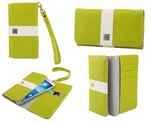 DFVmobile - Etui Tasche Schutzhülle aus Premium Mit Motiv Liniendesign mit Kartenfächer für gionee Pioneer p3 - Pistaziengrün