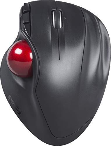 SPEEDLINK Aptico Trackball Wireless - Kabellose Trackball Maus für Büro/Home Office (ergonomisches Design - 8 m Reichweite - Laser-Sensor mit bis zu 1600 DPI) für Gaming/PC/Notebook/Laptop, Schwarz
