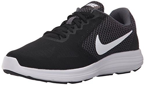 NIKE Women's Revolution 3 Running Shoe, Dark Grey/White/Black, 10 B(M) US
