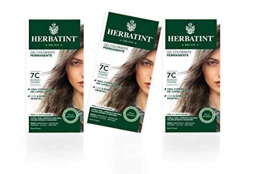 Herbatint Gel Colorante Permanente Pelle Sensibile (Tonalità 7C Biondo Cenere) - 3x150 ml. (Totale 450 ml.)