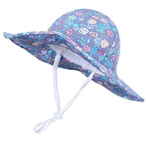 Happy Cherry - Sombrero de sol contra los rayos UV de verano, protección para bebé, niña, niño, gorro, visera, playa o vacaciones., flores, 4-8 años