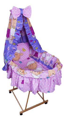 Amilian® 9tlg Textile Ausstattung für STUBENWAGEN Bollerwagen Himmel Matratze Baby Bettwäsche Schaf Rosa/Violett