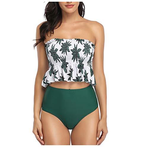 IHEHUA Neckholder Bikini Damen High Waist Bandeau Beachwear Verstellbarem Schulterriemen Boho Bademode Gepolstert Geblümt Tankini Set Mit Slip (A-Grün,34)
