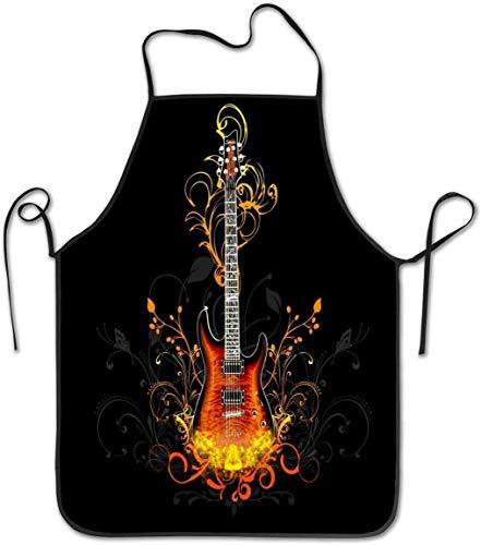 Delantal de babero de guitarras eléctricas para hombres y mujeres, para cocinar, hornear, manualidades, jardinería, barbacoa