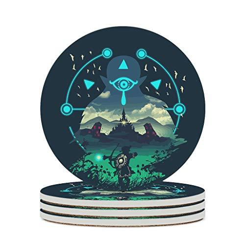 O5KFD&8 Posavasos de cerámica Zel-da de cerámica duradera, personalizable, para cumpleaños al aire libre, color blanco, 4 unidades