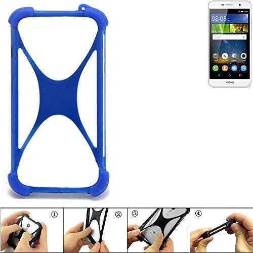 K-S-Trade Handyhülle Für Huawei Y6Pro LTE Silikon Schutz Hülle Cover Hülle Bumper Silikoncase TPU Softcase Schutzhülle Smartphone Stoßschutz, Blau (1x)