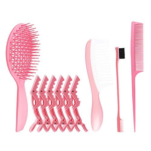 Yagosodee Juego de brochas para desenredar, pinzas de doble cara, cepillo para cejas, cepillo desenredante, peine de masaje de ocho garras, 10 unidades