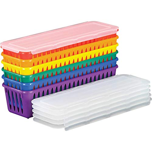"""Really Good Stuff Plastic Pencil and Marker Storage Baskets with Lids, 3¼"""" by 10"""" by 2½"""" (Set of 6) – Fun Rainbow Colors with Sliding Lids – Store Pencils and Markers Securely for 6 Groups or Students"""