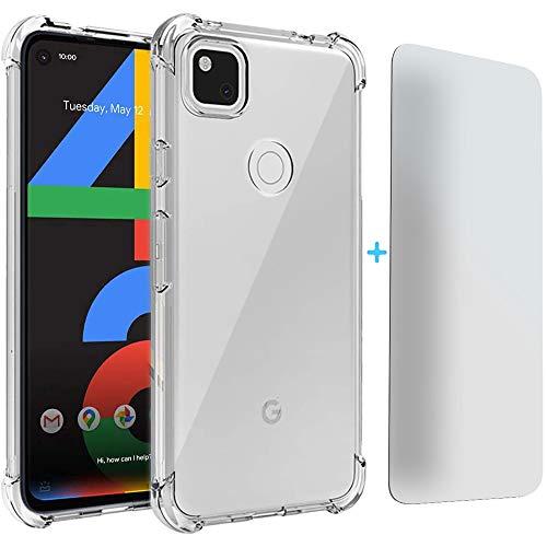 kompatibel mit Google Pixel 4a Hülle, [Ultra Hybrid] Cover [Transparent] inkl. Bildschirmschutzglas Handyhülle TPU Bumper Tasche Panzerfolie Schutzhülle