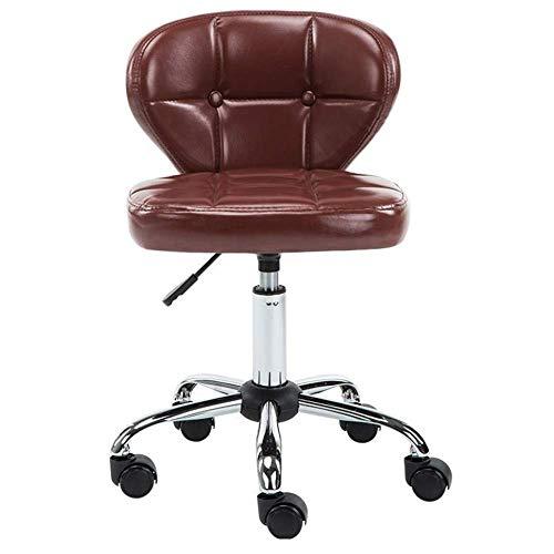 Taburete ajustable con rotación de 360 grados para salón con ruedas, bloqueo de altura ajustable, cojín de piel sintética de poliuretano, tatuaje, masaje hidráulico trasero, marrón