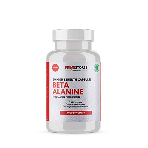 Beta Alanine Preworkout Energy Tablets 500mg - 60 Creatine Powder Capsules - High Strength Protein Fat Burner Supplement by Primestores