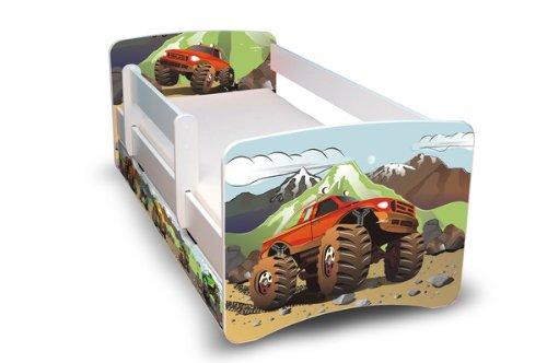 BEST FOR KIDS- Lit pour bébé 90x180 avec une protection escamotable et deux tiroirs 44 Design