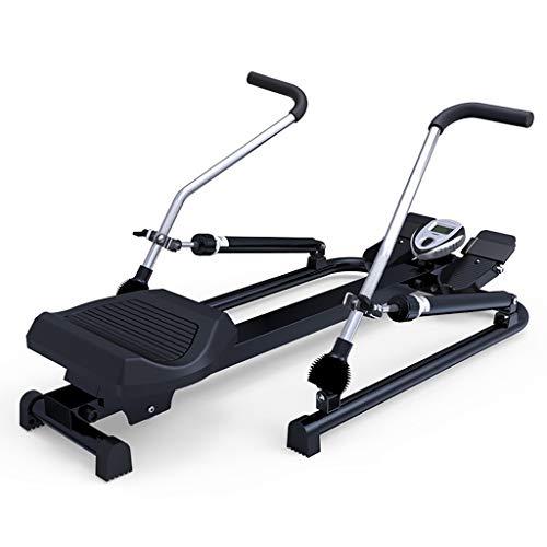 Qazxsw Rudergerät,Heimfitnessgeräte Silent-Waist Training Multifunktionales Hydraulische Rudersportgerät,Schwarz,114 * 58 * 68cm
