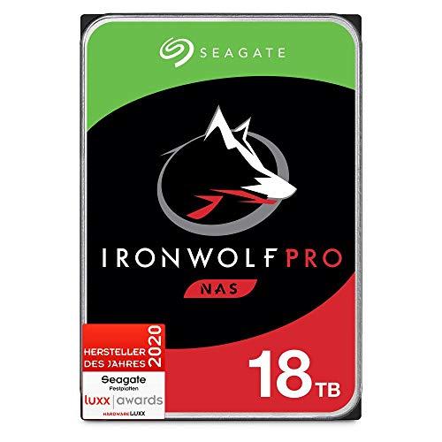 Seagate IronWolf Pro, NAS interne Festplatte 18 TB HDD, 3.5 Zoll, 7200 U/Min, CMR, 256 MB Cache, SATA 6 GB/S, silber, FFP, inkl. 3 Jahre Rescue Service, Modellnr.: ST18000NEZ00