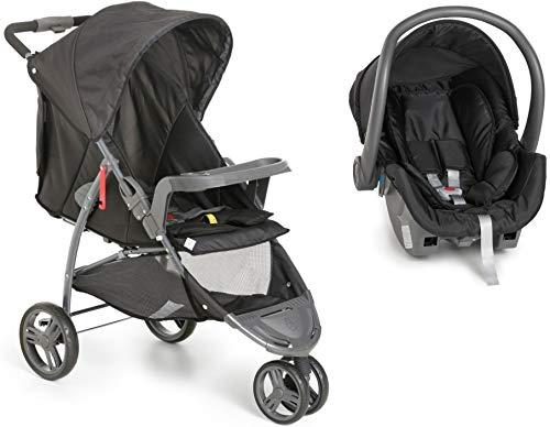 Kit Carrinho Bebê 3 rodas Cross Trail 1450 Galzerano Preto com Bebê Conforto Cocoon 8181 Black