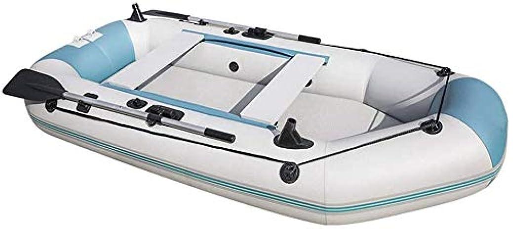 ズームインする褐色シュリンク釣り用ゴムボート 2?3人用のスポーツインフレータブルボート、牽引ロープとアルミオールを備えた頑丈なPVCレクリエーション釣りボート、ゴム製ボートには3つの独立した空気チャンバーと釣り竿ホルダーがあります,XL