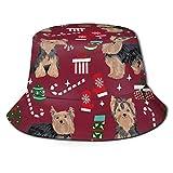 Bucket Hat Packable Reversible Yorkie Christmas Dog Print Sun Hat Sombrero de Pescador Gorra Camping al Aire Libre