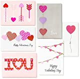 Valentine's Cards with Envelopes, 6 Colorful Heart Designs (5 x 7 In, 12 Pack)