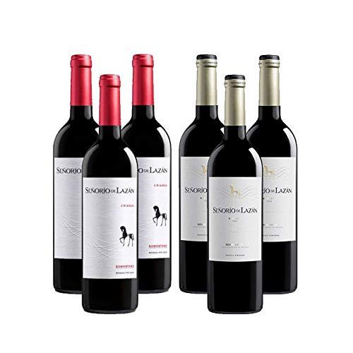 Vinos tintos Señorio de Lazan Crianza y Reserva - D.O. Somontano - Mezclanza Barbadillo (Pack de 6 botellas)