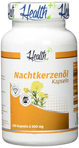 HEALTH+ Nachtkerzenöl - 150 Kapseln mit 500 mg Nachtkerzen Öl und 45 mg Gamma-Linolensäure, Nachtkerzenölkapseln mit wertvollen Omega-6-Fettsäuren, ohne Zusätze, Made in Germany