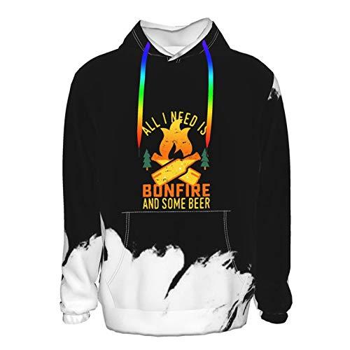 All I Need Is Bonfire And Beer Pullover Hooded Sweatshirts für Jungen Herren Lustig Cool Outwear Gr. XXXL, Schwarz