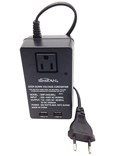 Simran Deluxe 2-in-1 Voltage Converter 2 USB Ports and 1-AC Outlet 200 Watt For 220V International Travel, SMF-240USB