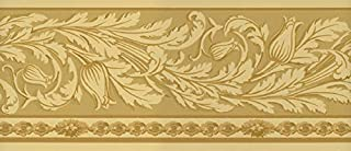 Waverly Sonoma Valley Collection Wall Border 5509442 Arts and Crafts Vine Wallpaper Mission Stylized Trailing Vine Yellow on Gold Home Decor