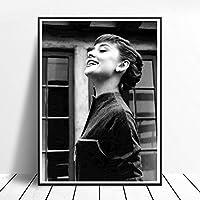 ファッション女神オードリー・ヘップバーン肖像画プリントキャンバス オードリー・ヘップバーンポスター壁装飾寝室リビング部屋装飾ヘプバーン画像絵画インテリア
