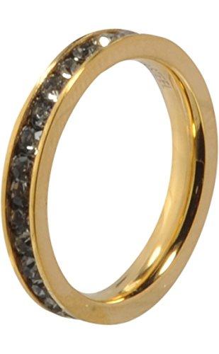 MelanO Ring/Vorsteckring/Beisteckring Edelstahl beschichtet Farbe Gold mit Zirkonia in Farbe schwarz M01R 4993 (57 (18.1))