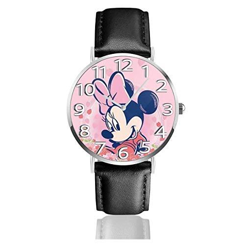 Pink Minnie Mouse Unisex Easy Reader Reloj analógico de Cuarzo de 38 mm con Correa de Cuero