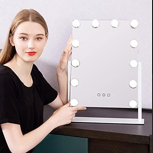 Espejo maquillaje mirror espejo cosmético tocador de mesa tocador hollywood táctil ajustable luces iluminación cargable profesional giratorio bombillas No caliente de mesa con usb Soporte metalico