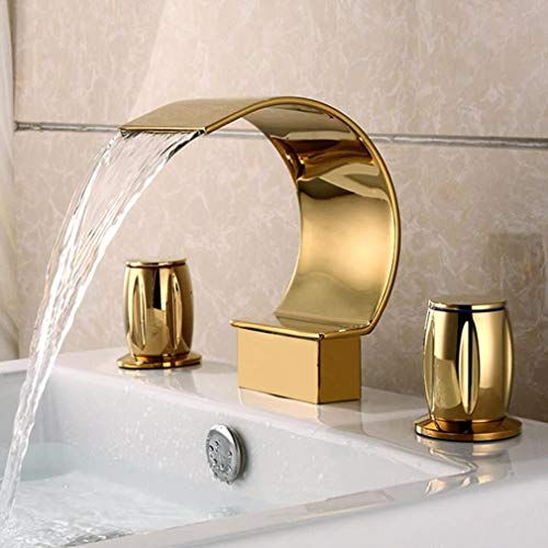 LXX Bad Wasserfall Wasserhahn Zweigriffmischer Waschbecken Armatur 2-Hebel Mischbatterie Waschtischbatterie für Badezimmer aus Messing,Komfort-Höhe 150mm