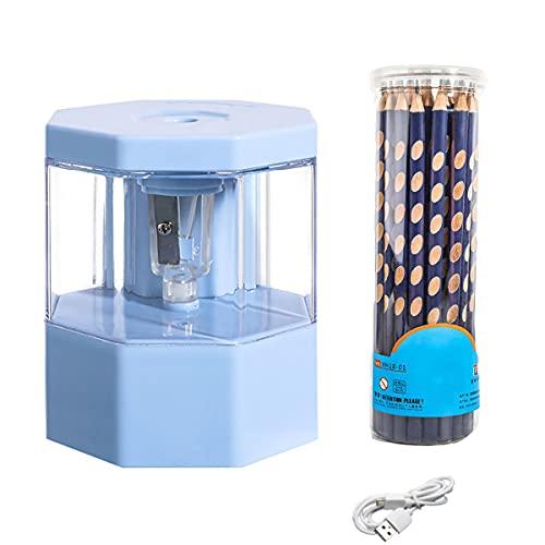 KUMADAI Sacapuntas con Deposito Electrico USB Pequeno Divertido Profesional Niios (6.5-8mm) PortáTil Antideslizante para Niños Profesores Artistas Aulas Oficinas,Azul