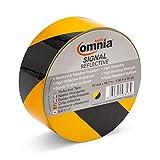 OMNIA TOOLS Signal Ruban Réflecteur Autocollant Haute Visibilité | pour la Sécurité, Sûreté, l'avertissement | Jaune Noir, 50mm x 45,7m