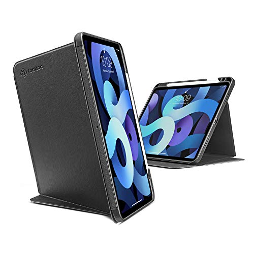 tomtoc Case for iPad Air 4, Trifold Vertical Case with Apple Pencil Holder for iPad Air 10.9 Inch, Protective Smart Cover with Magnetic Kickstand for 3 Use Modes, Support iPad Pencil Wireless Charging