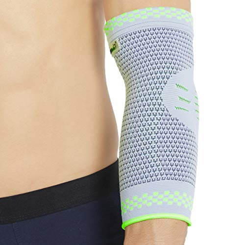 Neotech Care Elbow Support (1 Unit) with Silicon Gel Pad Insert - Lightweight, Elastic & Breathable Knitted Fabric Compression Sleeve - for Men, Women, Right or Left Arm - Grey Color (Medium Size)
