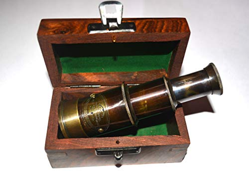 """4.5"""" Handheld Brass Antique Telescope with Wooden Box - Pirate Navigation"""