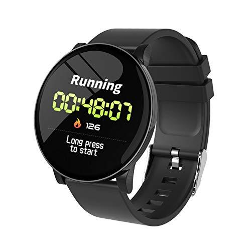 LYB Brazalete Inteligente Reloj Inteligente Recordatorio De Llamada Impermeable Ritmo Cardíaco Monitor El Tiempo Pronosticado Fitness Watch Bluetooth (Color : Black Silicone Strap)