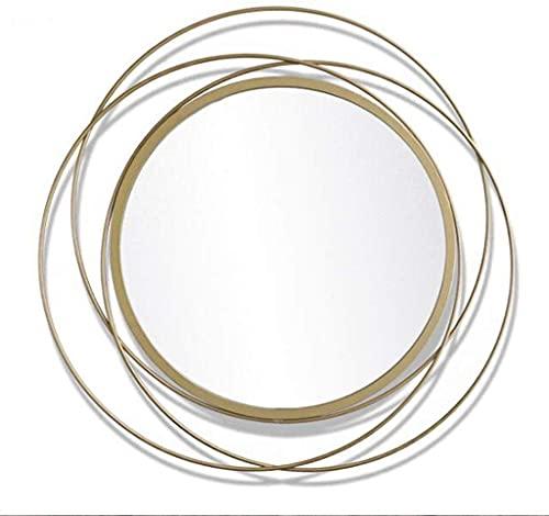 WFY Maquillaje Espejo Espejo de Pared Grande Metal Enmarcado Pared Redondo Espejo montado en la Pared Sol estallido diseño colgado para Sala de Estar, Dormitorio, Pasillo, Pasillo