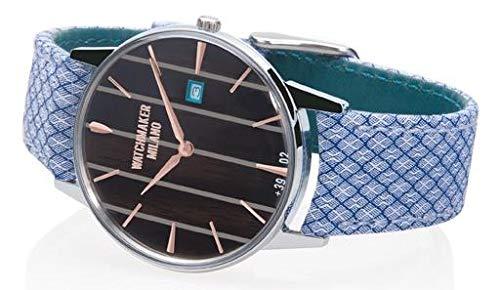 Watchmaker Milano Orologio Uomo Vintage da Polso a Quarzo con Cassa Tonda e Cinturino Fatto a Mano in Tessuto (Nero)