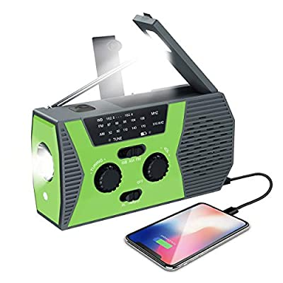 (2020 Upgraded NEW Version) Emergency Solar Hand Crank Radio, Self Powered Portable NOAA Weather Radio, AM, FM, LED Flashlight, Reading Lamp, 2000mAh Power Bank, SOS Alarm for Outdoor Household(Green) by Criacr