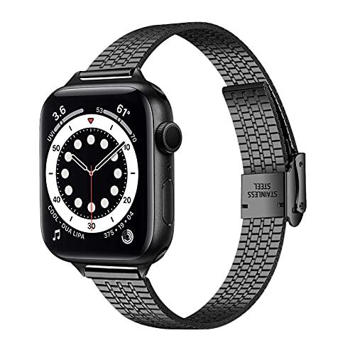 KangPlus Correa de reloj compatible con iWatch Series 6, correa de acero inoxidable de metal con herramienta de extracción de eslabones, compatible con iWatch Series 6/5/4/3/2/1 38MM/40MM - negro