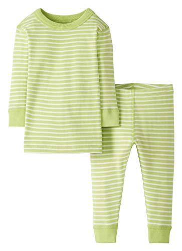 Moon and Back de Hanna Andersson - Conjunto de pijama de 2 piezas de manga larga, hecho de algodón orgánico y con diseño a rayas para bebé, Verde lima (Lime Green), 2 años (82-87 CM)